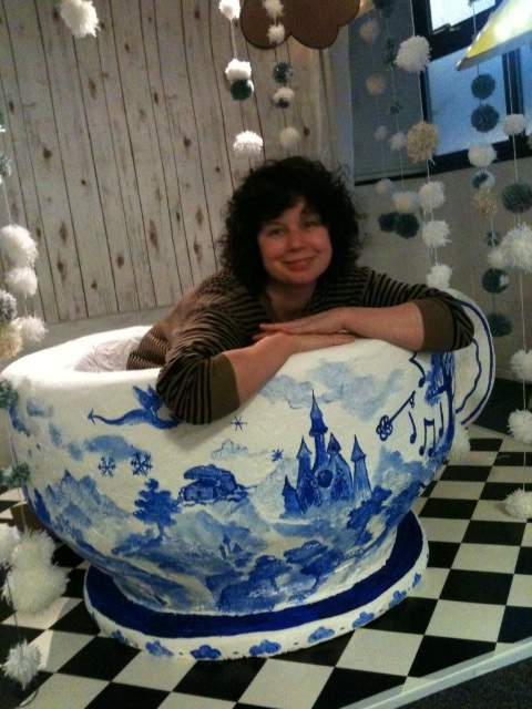 "The teacup for ""A snowstorm in a teacup"" for DNA arts, with creative collaborator Ali Brown as well as Megan Clarke Bagnall"