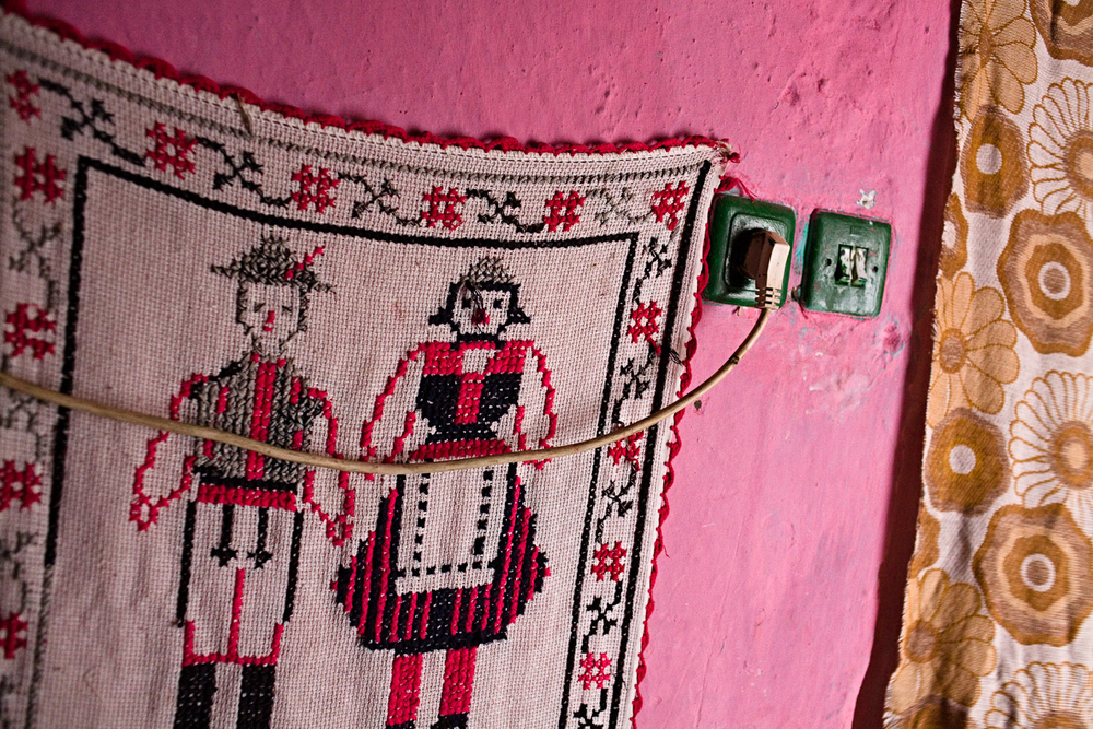 Zece-Hotare village, Romania.Embroidered wall hanging in Florica Troiac's home.