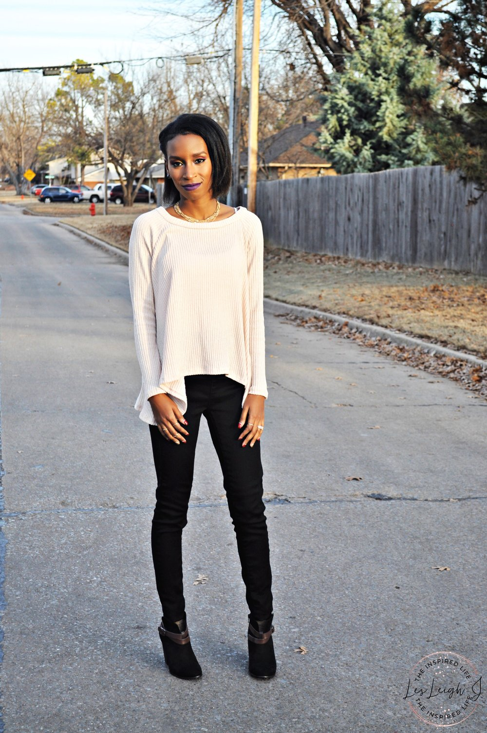 Cream Lace Blouse - Black Jeans 4