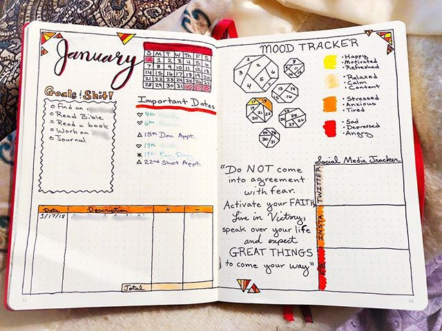 My first monthly spread for my first #BulletJournal! I love it! I just finished it, so some things aren't filled in, but I'm so excited to truly begin this bullet journal journey! . . . . #bujo #journal #organization #planner #life #doodle #art #calligraphy #fun #like #love #life #orange #red #yellow #january #monthlyspread #followme #journey #lesleighjlifestyle