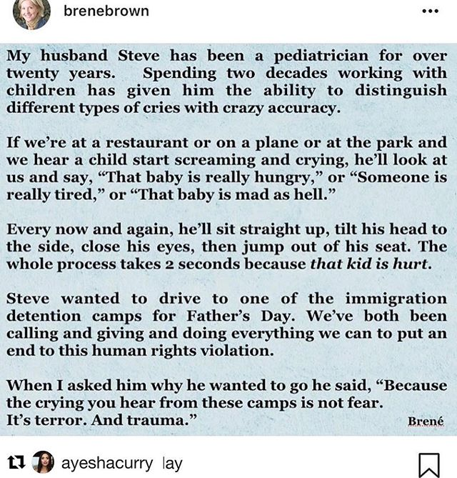 "#Repost @ayeshacurry and @shekinahholiday  Quote and image Reposted from @brenebrown  My heart breaks for these mothers  and children. There were reports that a child as young as 8 months was found in one of these detention camps. My daughter is 7 months old. I cannot imagine her being torn from my arms and not knowing  when or if I would ever see her again. Breastfeeding mothers are being ripped from their children. Children are being traumatized. America, we need change.I cannot sit by and idly watch. I'm doing something about it. Are you? Call your senators. Pick up your phone. Call (202)224-3121. State your zip code. When connected, state where you live and that you support SB3036. This is the ""Keep Families Together Act"". Donate to organizations like @together.rising who are working to put lawyers on the ground to represent these children being made to stand ALONE to defend themselves in court. HOW?? 💔💔 Republican Senators: I beseech you with @michelleobama 's words ""sometimes truth transcends party"". Luke 9:47-48 But Jesus, knowing what they were thinking in their heart, took a child and stood him by His side, and said to them, ""Whoever receives this child in My name receives Me, and whoever receives Me receives Him who sent Me; for the one who is least among all of you, this is the one who is great."""