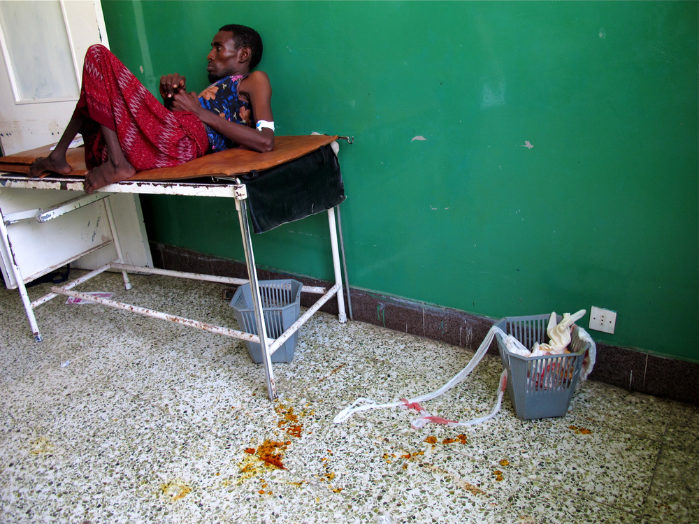Waiting room.  Banadiir Hospital, Mogadishu, Somalia. August 2011.