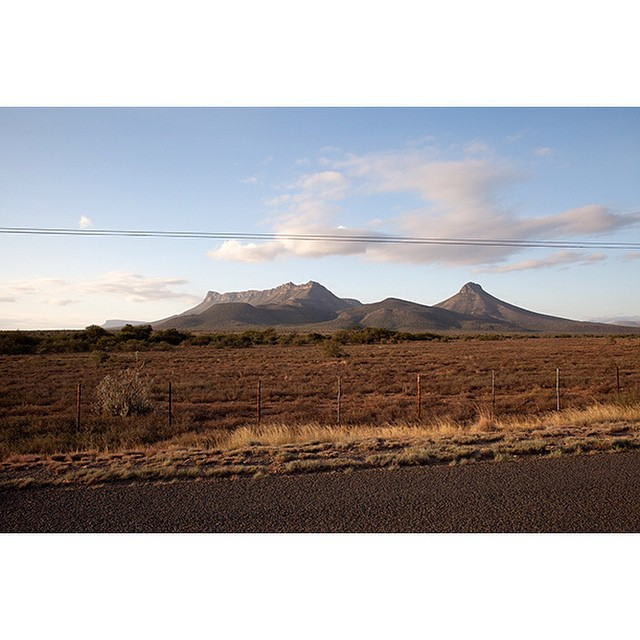 "32°24'51.0""S 24°48'30.8""E, 13/03/2015, 1753 The Mountain of Small Teeth, Petersburg Road, Eastern Cape, South Africa #mountain #vista #roadtrip #dusk #karoo #peak"