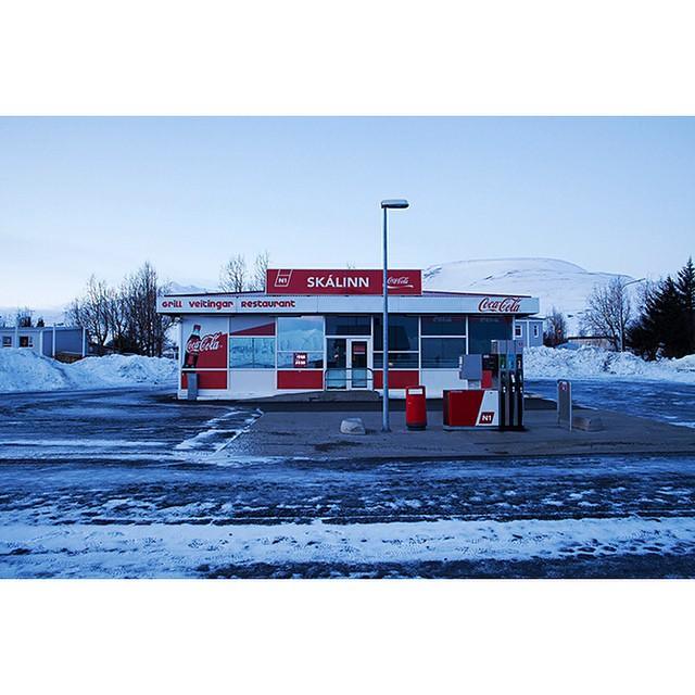 "65°58'12.8""N 18°31'41.5""W, 09/01/2015, 1106 Coca Cola petrol station, Dalvik, Iceland #petrol #gasstation#CocaCola #branded #roadside #winter #Iceland"