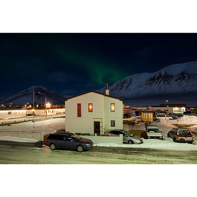 "66°04'20.1""N 18°39'03.6""W, 05/01/2015, 2209 Aurora Borealis and antenna, Ólafsfjörður, Iceland #NorthernLights #aurora #borealis #Iceland #winter #night #sky #antenna"