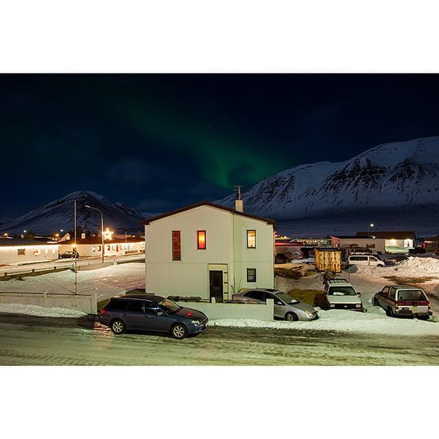 "66°04'20.1""N 18°39'03.6""W, 05/01/2015, 2209 Aurora Borealis and antenna, Ólafsfjörður, Iceland #NorthernLights #aurora #borealis #Iceland #winter #night #sky #antenna"