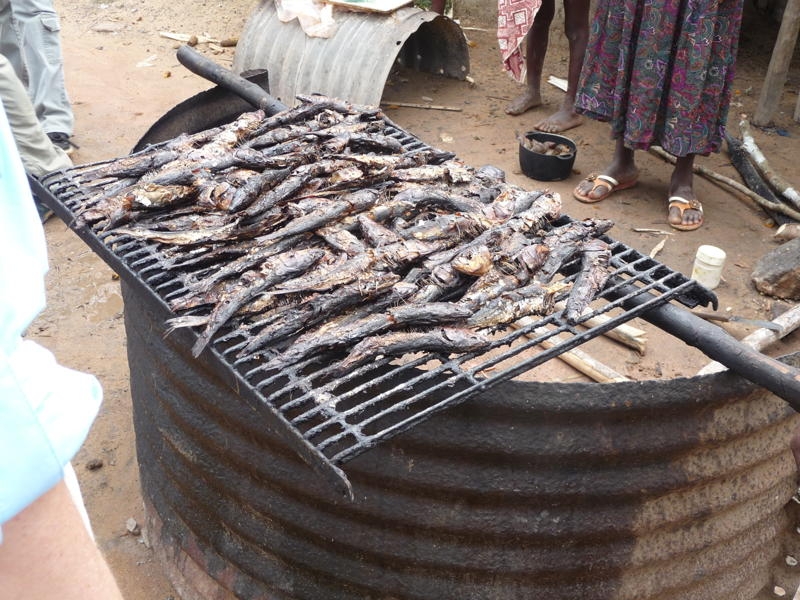 Food is being preserved through the process of drying.