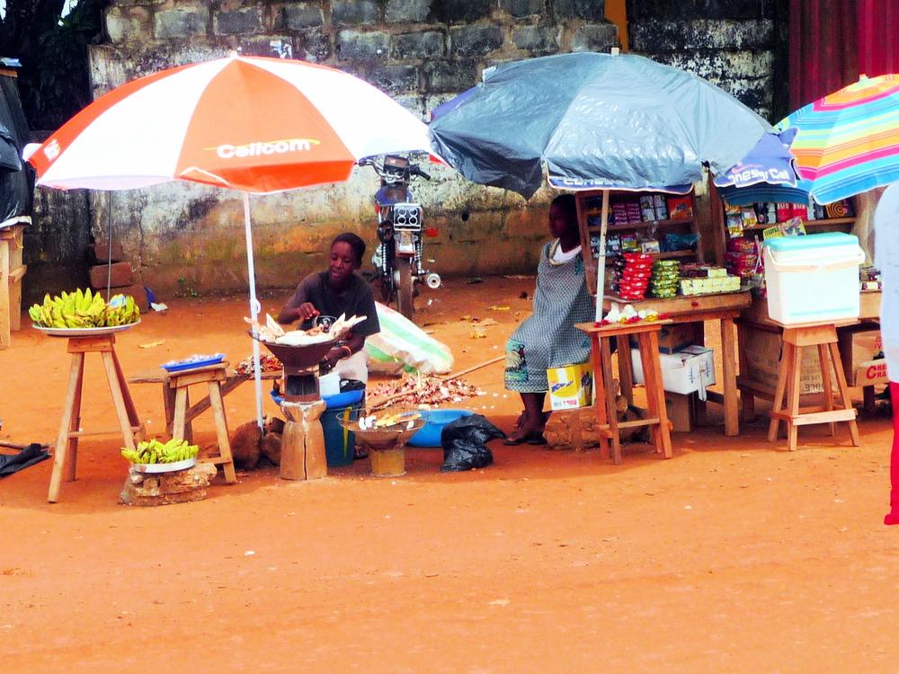 A roasted cassava stand in rural Liberia.