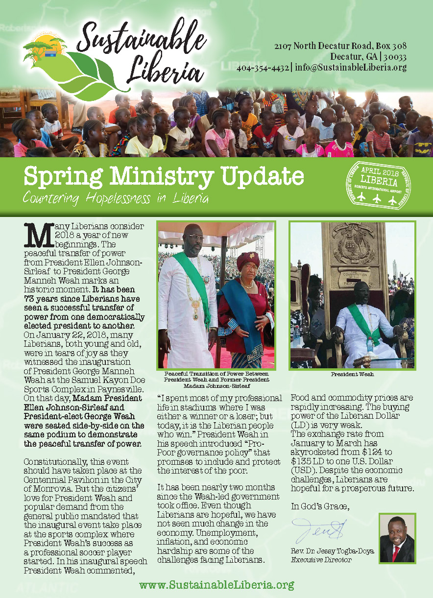 - Click here to download the Spring 2018 Newsletter from Sustainable Liberia.