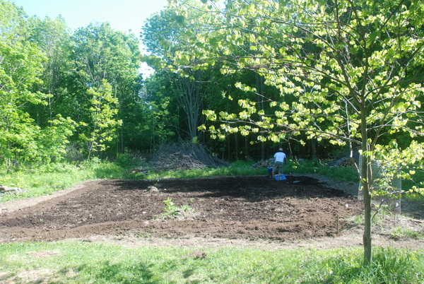 Spring has sprung and we are tilling in compost. Tent gone. We moved in (somewhat).