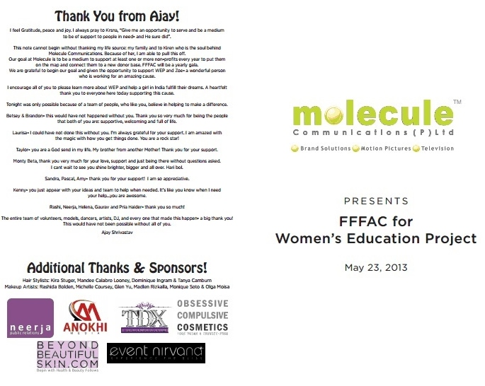 Program from Molecule/FFFAC Charity Event/Betsy Johnson Fashion Show