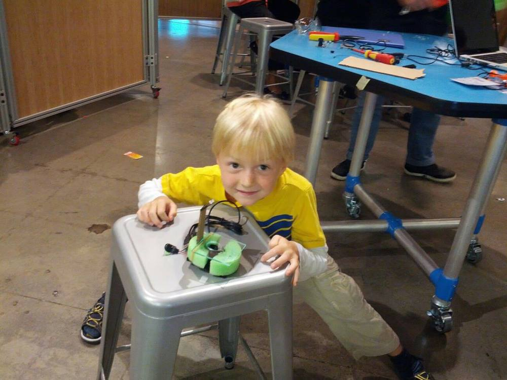Owen is 6 years old and has just build his first microscope (Hackidemia Bio making workshops in Tech Museum, July 2013)