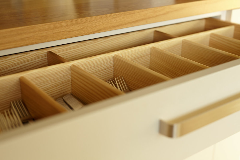 Ash cutlery drawer to handmade kitchen  |  for further information see  Sustainable House, Norton