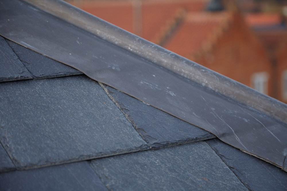 Spanish Slate roof with wood roll lead ridge detail  |  for further information see  Commercial Units and Holiday Letting, Woodbridge