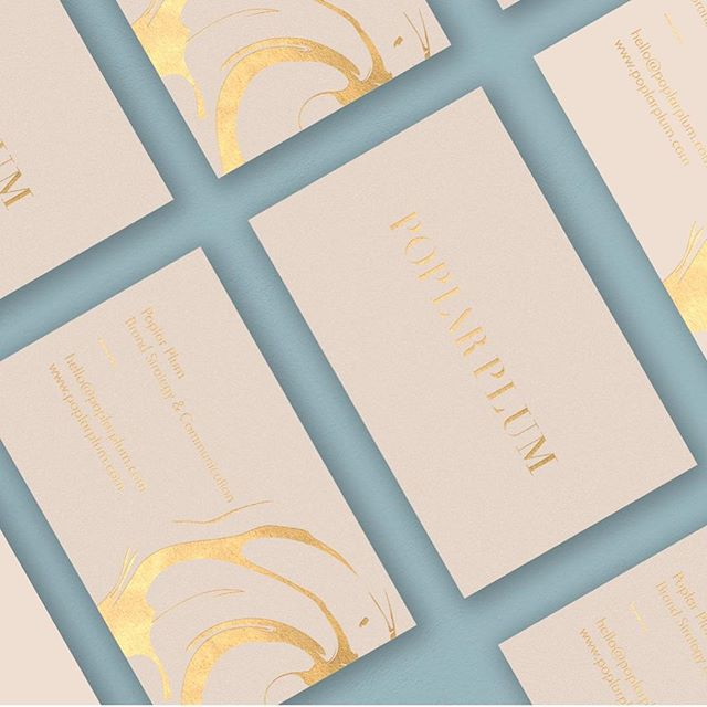 POPLAR PLUM | Studio Rosely⠀ ⠀ One of the perks of what I do is getting to work with stellar clients. It was a joy to develop the logo suite and business cards for @poplarplumcommunication ✨⠀ ⠀ #graphicdesign #identity #goldfoil