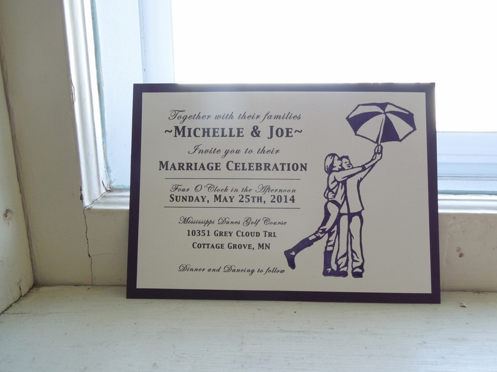 Custom Hand-printed Wedding Invite