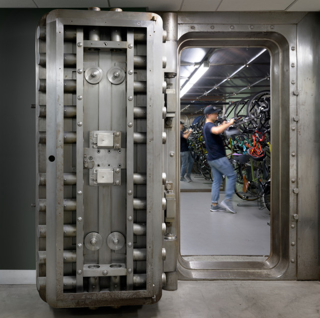 It doesn't get much more authentic (or secure) than this: Squarespace opted to keep the original vault doors from the building's days as the Oregon Bank.