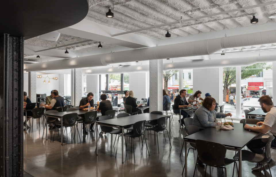 This modern first-floor dining area is the opposite of the typical characterless corporate cafeteria.
