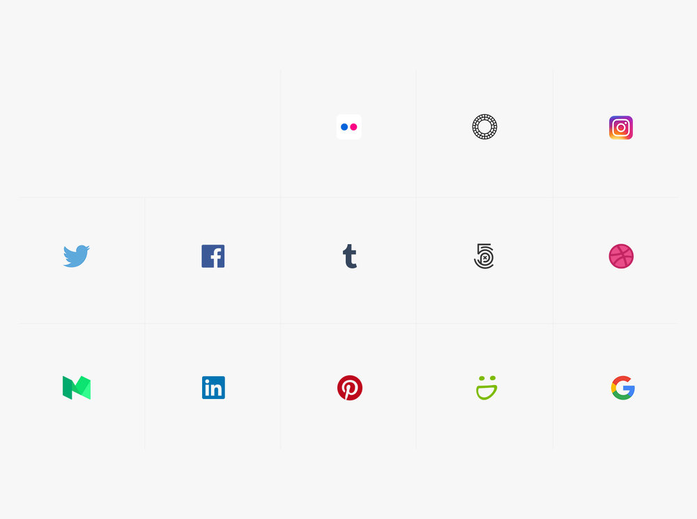 Redes sociales de lista de clientes de fotografía