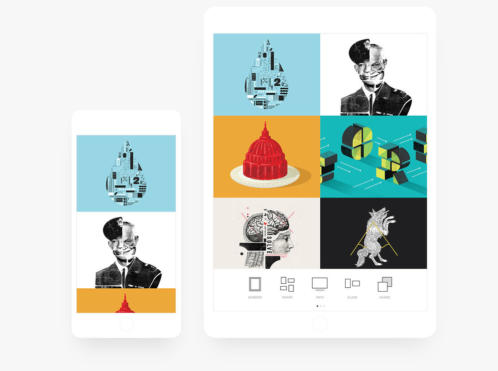 Aplicativo de Site Squarespace Portfolio para iPad e iPhone