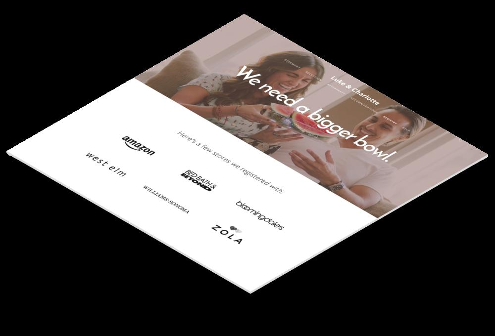 Funcionalidad de registro de boda en las páginas web de boda en Squarespace