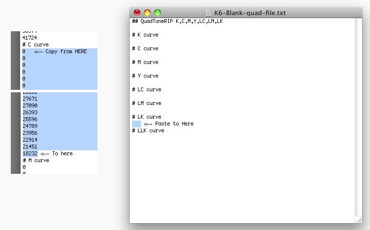 Curve values for Quadtone Rip workflow.