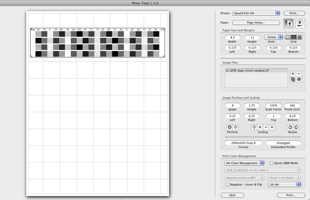 Print stepwedge using QTR Print Tool or Adobe Printer Utility