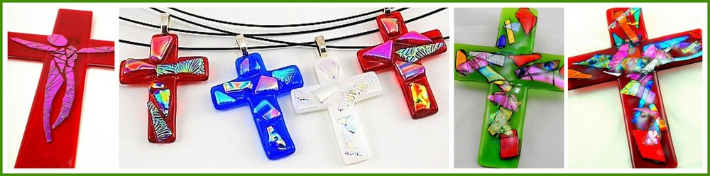 CRUCIFIX, DICHROIC CROSS Pendants, DICHROIC WALL CROSSES