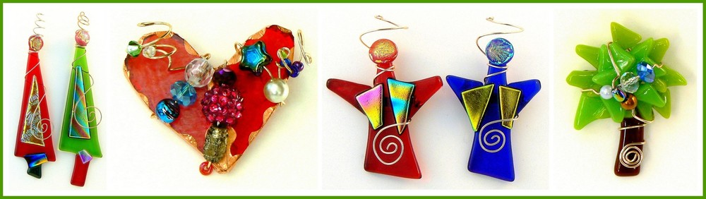 DICHROIC X-MAS TREE, ARTSY HEARTSY, ANGEL and PALM TREE Pins