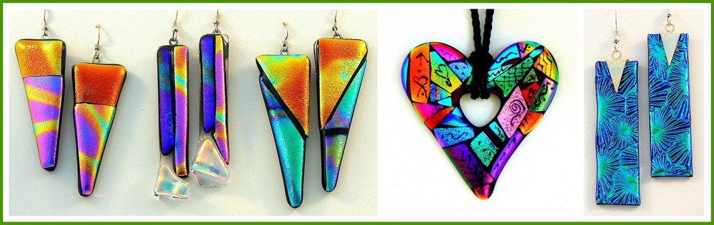 DICHROIC GEOMETRIC Earrings, ZENTANGLE HEART Pendant and DANGLIE Earrings