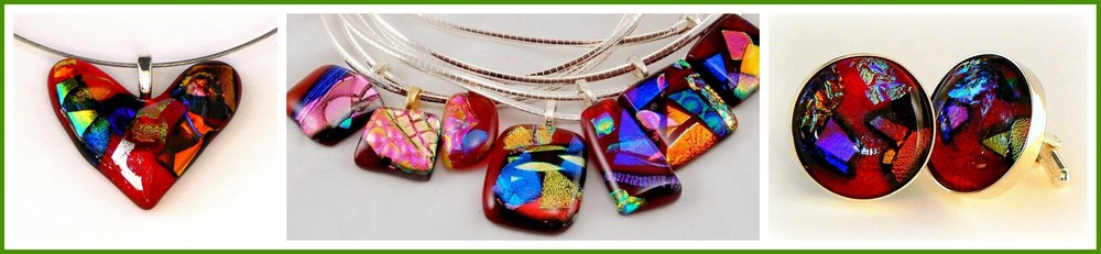 "DICHROIC MOSAIC HEART Pendant, Traditional ""ICE""  Pendants and CUFF LINKS"