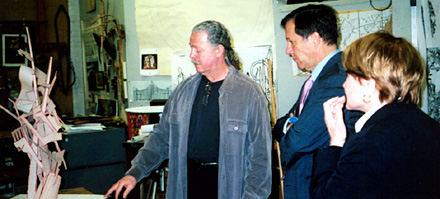 In 2006, Louise Slaughter visited Rochester-based Metal Sculptor Albert Paley with then NEA Chairman Dana Gioia