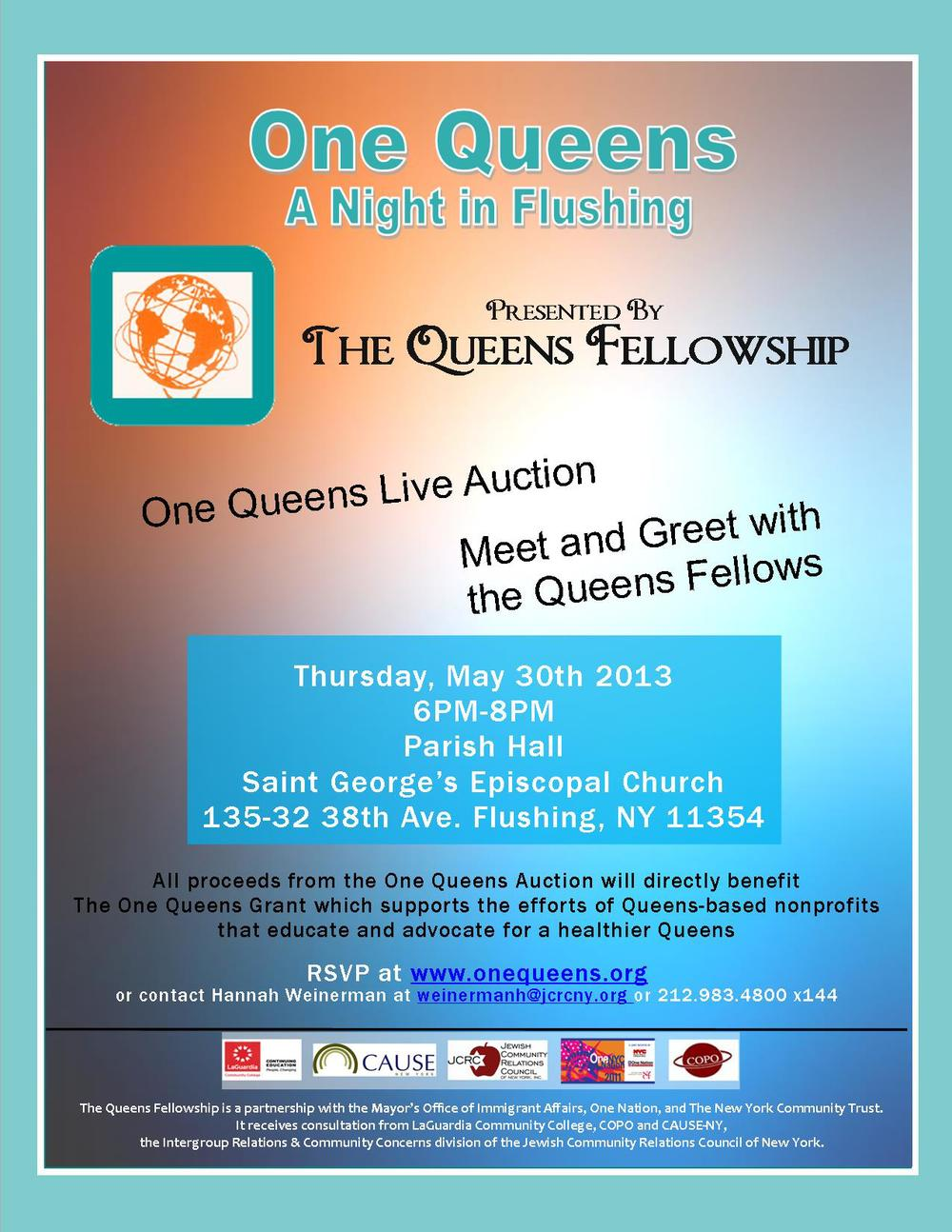One Queens Friendraiser: A Night in Flushing event highlighted both the Fellowship and the One Queens Auction. The event took place at the historic Saint George's Episcopal Church in downtown Flushing and raised over $800 through donations and items sold at the One Queens Auction.