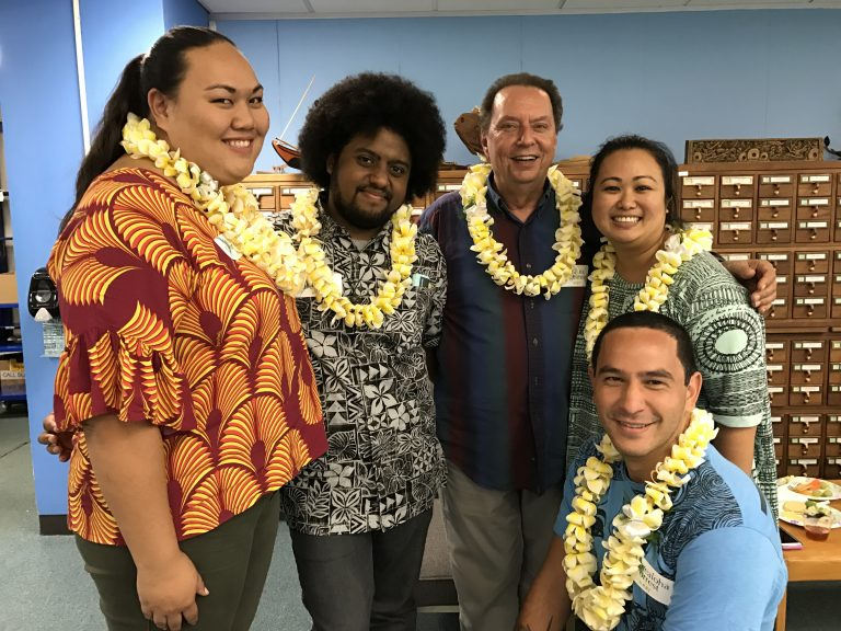 Members of the Institute of Hawaiian Language Research and Translation. From left: Paige Okamura, Kilika Bennett, Puakea Nogelmeier, 'Anoi'lani Aga, Kamealoha Forrest. Photo by Burt Lum