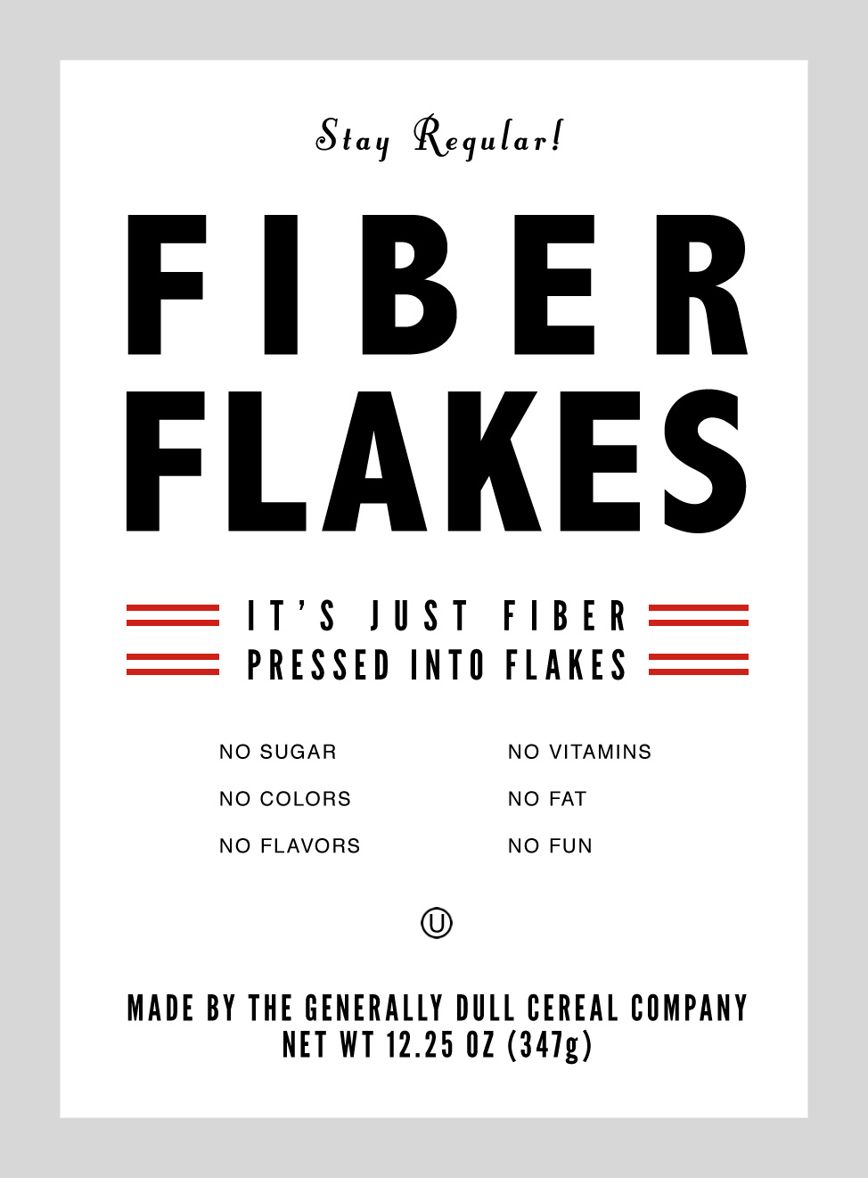 Fiber Flakes Prop Cereal Box