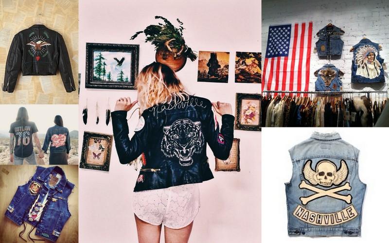 <<handpainted eagle leatherr>><<outlaw denim couple>><<denim patch vest>><<Nashville tiger leather>><<hanging denim vests>><<nashville skull vest>>