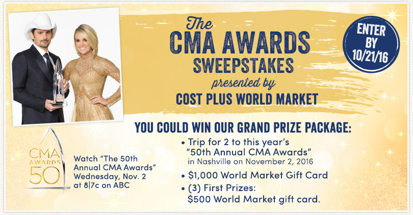 "Love country music? Cost Plus World Market is giving away a trip to Nashville and tickets to the ""The CMA Awards""! This fun trip includes airfare, tickets to the show, accommodations at the Opryland Hotel, and a $1,000 Cost Plus World Market Gift Card! http://bit.ly/2b8qUoM #CMAawards50 #worldmarkettribe #ad"