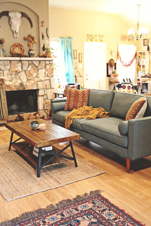 Earthy Living Room Decor: Laura's Earthy Bohemian Living Room