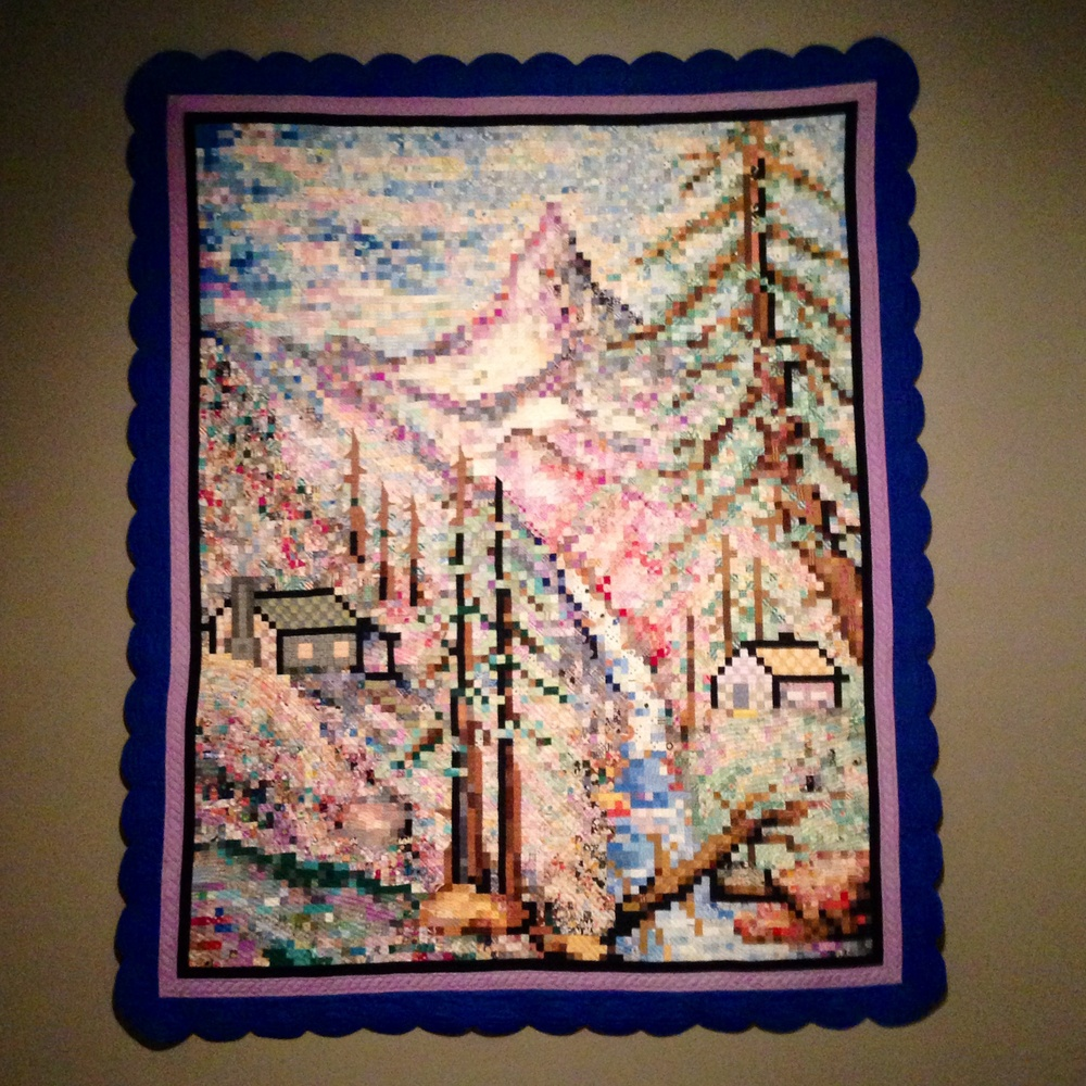 Pixel quilt! Made before pixels were a thing! So cool.