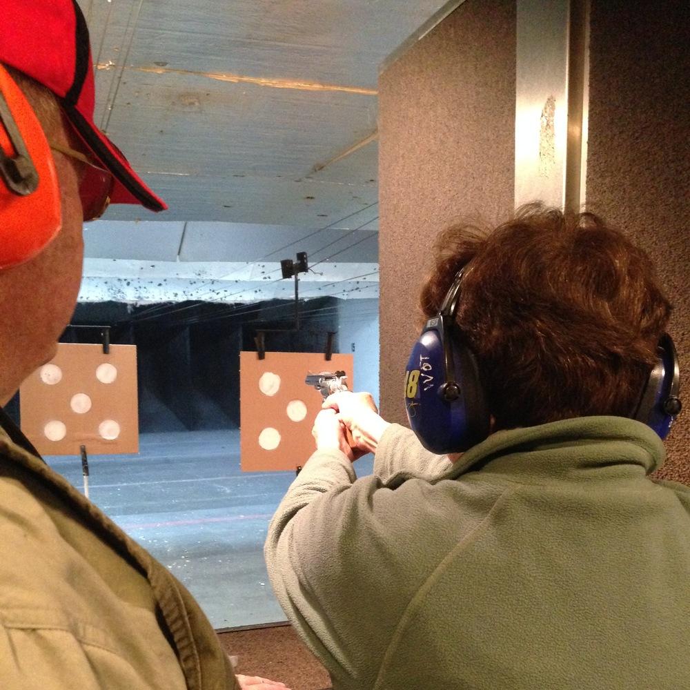 My mom, a gun, and atarget.
