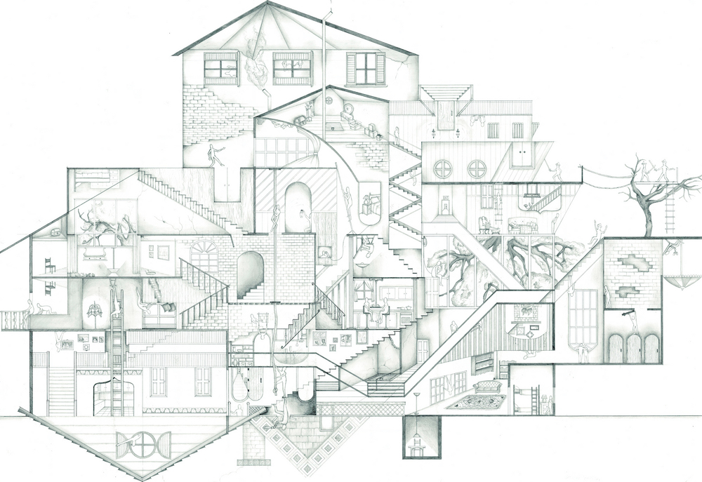 """""""Here Is The House"""". Pencil on paper. 24""""x36""""."""
