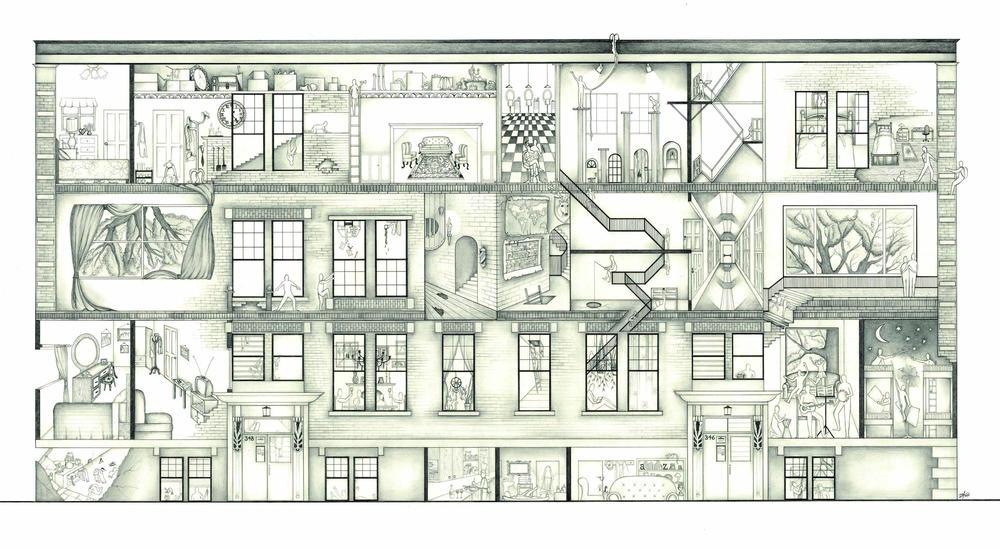 """346/348 Arbuthnot Street"". Pencil on paper. 24""x40""."