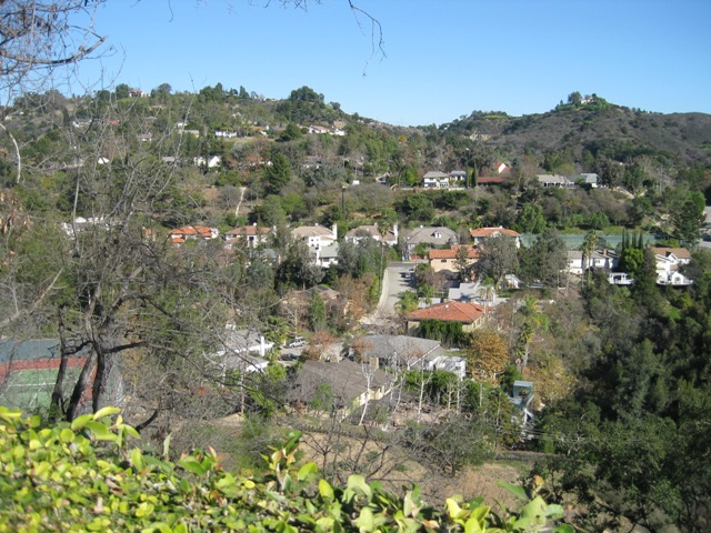 A view of the Deep Canyon development from Benedict Canyon.