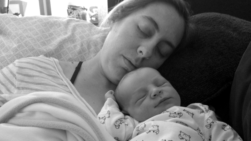 The Best Picture Ever! Mom and baby resting comfortably the day we got released from the hospital. Finnegan was only two days old here.