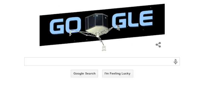 November 13th, 2014 - Google Doodle for November 13th, 2014. Google is celebrating man's first attempt to land on a comet. #Rosetta had a 10 year journey and launched it's probe #Philae yesterday and landed successfully on Comet 67P/Churyumov-Gerasimenk