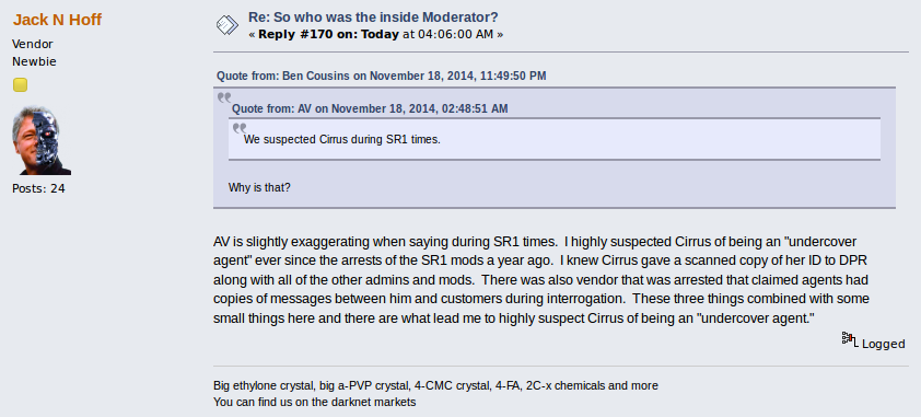 Hoff in a thread about the Silk Road mole.