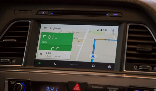 "Android Auto, Google's ""projected"" interface for cars.   Photo: Ron Amadeo"