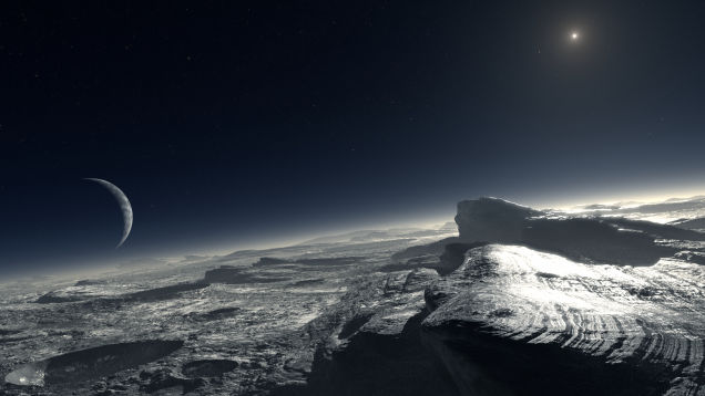 Artistic depiction of Pluto's surface with Charon drifting over the horizon and the Sun off in the distance. Credit: L. Calcada/ESO