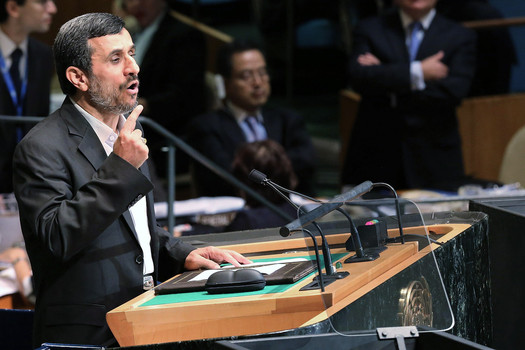 Mahmoud Ahmadinejad gives his address to world leaders at the United Nations General Assembly on September 26, 2012 in New York City.