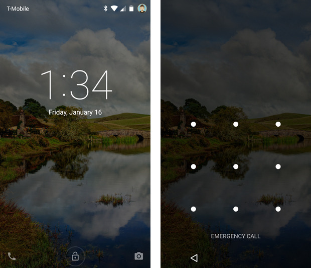 Even with lock screen notifications disabled, you have to swipe away an initial screen (at left) before you can input your code (at right). Why not just put the clock above the security prompt?
